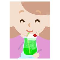 クリームソーダを飲む若い女性のイラスト