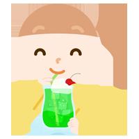 クリームソーダを飲む女の子のイラスト