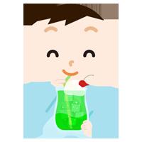 クリームソーダを飲む男の子のイラスト