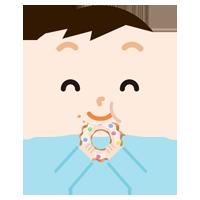 ドーナツを食べる男の子のイラスト