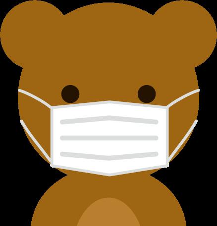 マスクを着けたくまのイラスト