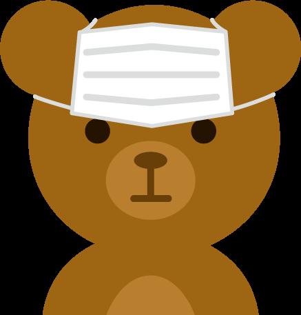 マスクの装着を失敗したクマのイラスト