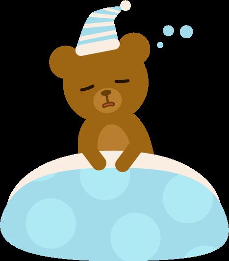 寝ぼけているクマのイラスト1
