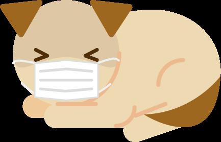 マスクをした犬が伏せるイラスト