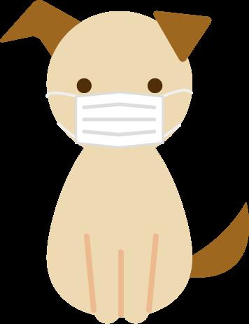 マスクをした犬がお座りをするイラスト2