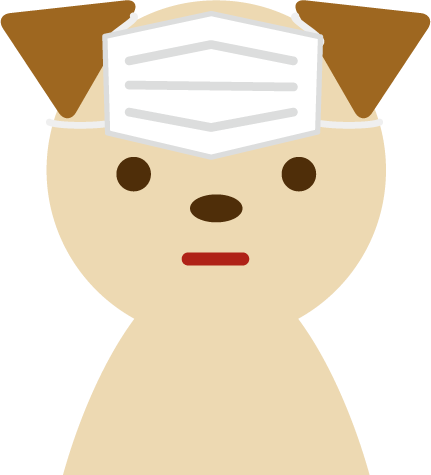 マスクの装着を失敗した犬のイラスト