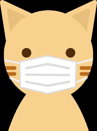 マスクをしたネコのイラスト(アップ1)