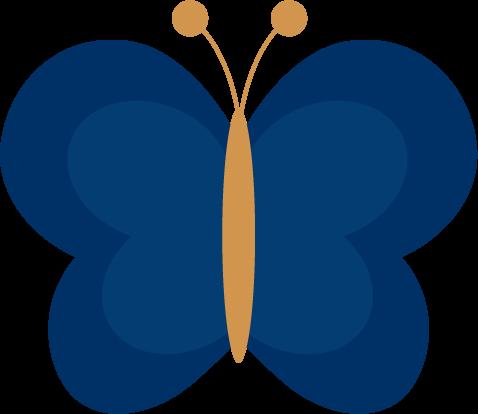 蝶々のイラスト(紺色)