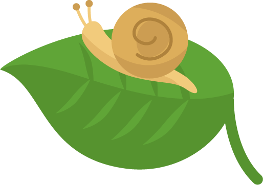 葉に乗ったカタツムリのイラスト