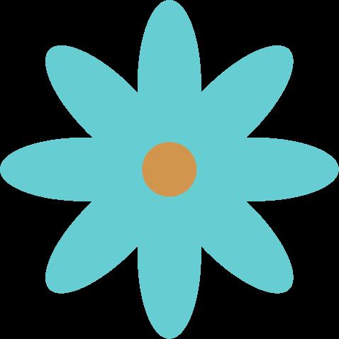 花のイラスト(水色)