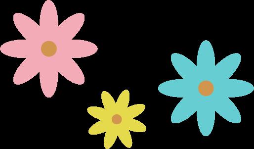3色の花のイラスト