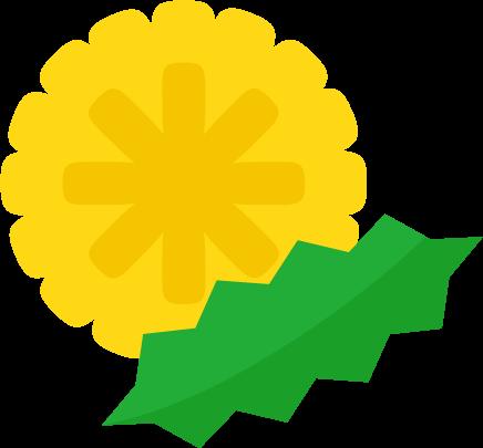 たんぽぽの花と葉のイラスト