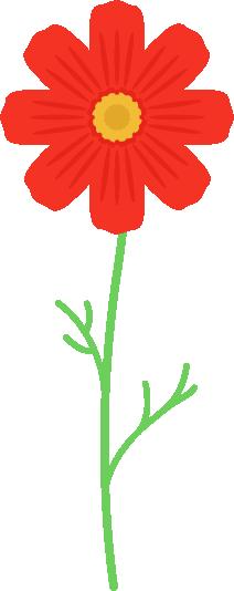 一本の赤色のコスモスのイラスト