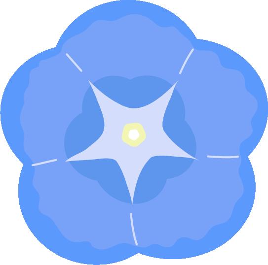 青い朝顔のアップのイラスト