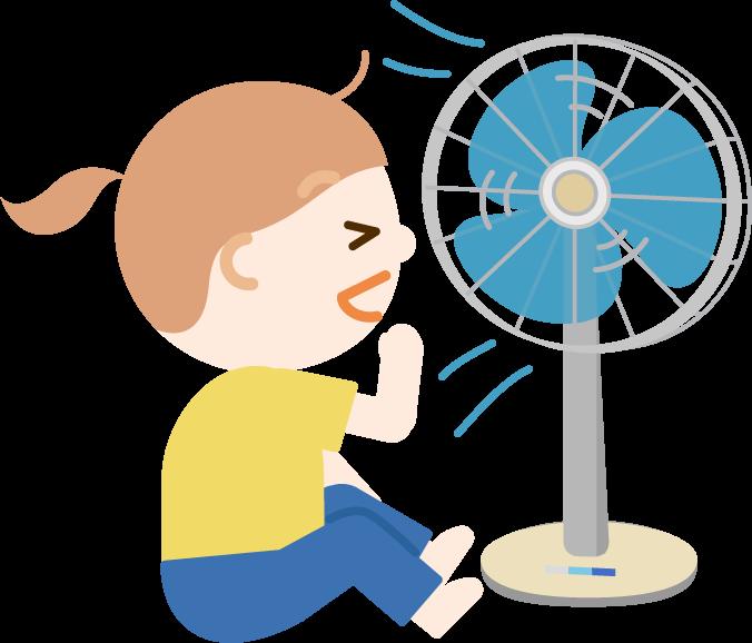 扇風機の風に当たる女の子のイラスト1