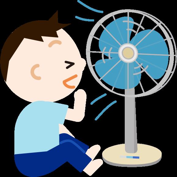 扇風機の風に当たる男の子のイラスト1