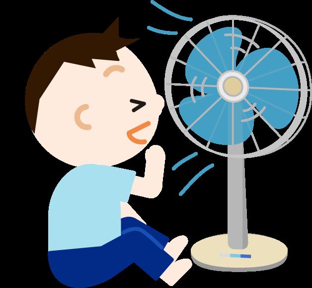 扇風機の風に当たる男の子のイラスト2