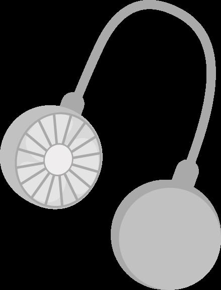 ハンズフリー扇風機のイラスト(グレー)