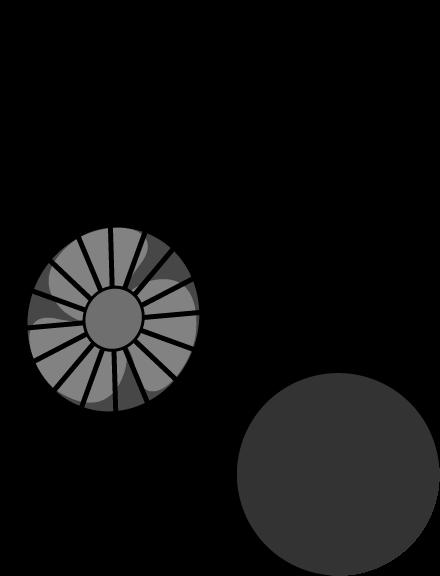 ハンズフリー扇風機のイラスト(黒)