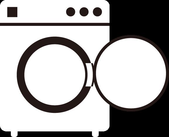 コインランドリーの洗濯機のイラスト(空・白)