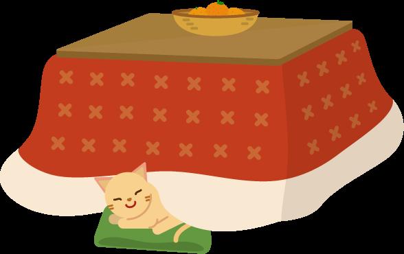 こたつと猫とみかんのイラスト