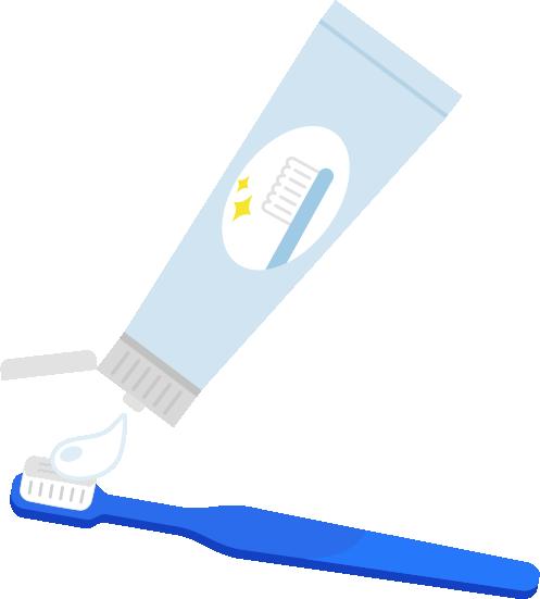 青い歯ブラシに歯磨き粉をつけるイラスト