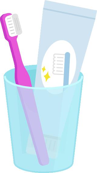 歯磨きセットのイラスト(ピンク)
