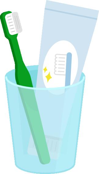 コップに入った歯磨き粉と歯ブラシのイラスト(緑)