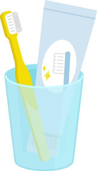 歯磨きセットのイラスト(黄色)