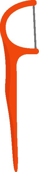 糸ようじ、フロスのイラスト(オレンジ色)