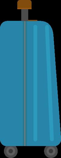 横向きのスーツケースのイラスト(青)