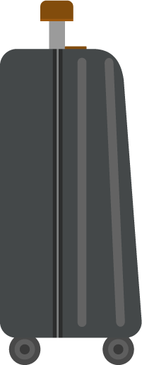横向きのスーツケースのイラスト(黒)