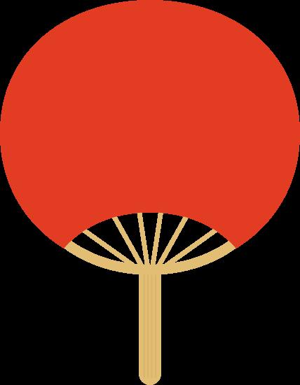 うちわのイラスト(赤)