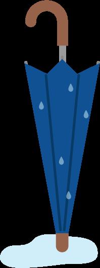 濡れている傘のイラスト(開)
