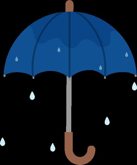 濡れた傘のイラスト(全開)