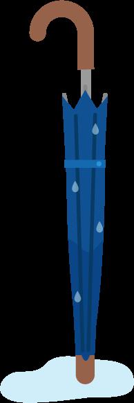 濡れている長い傘のイラスト