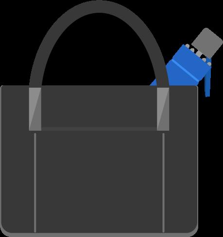 カバンに入った青い折り畳み傘のイラスト