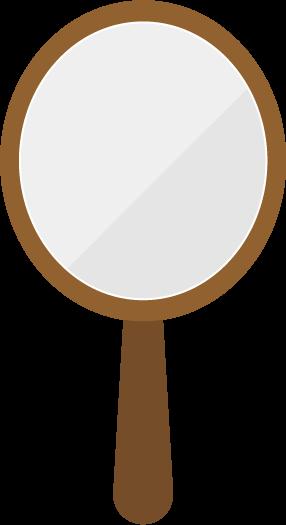 楕円の形をした木製の鏡のイラスト