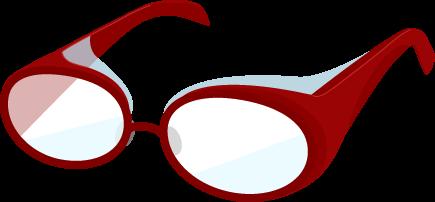 花粉症用のメガネのイラスト(赤)