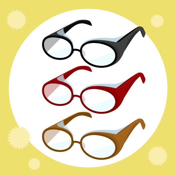 花粉症用のメガネのイラスト(背景あり)