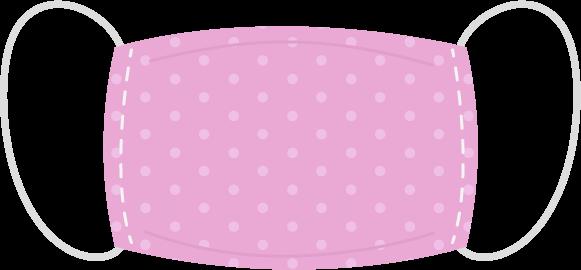 布製の柄マスクのイラスト(水玉模様)