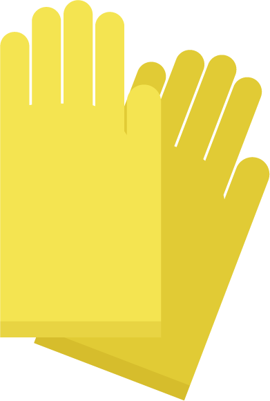黄色のゴム手袋のイラスト