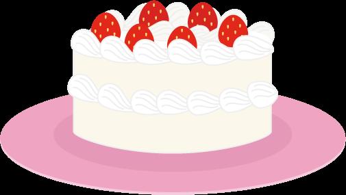 苺のショートケーキのイラスト(お皿)