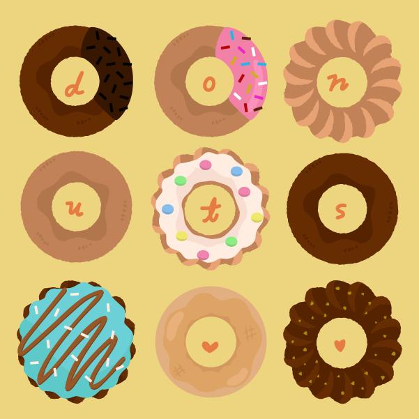 いろんな種類のドーナツのイラスト