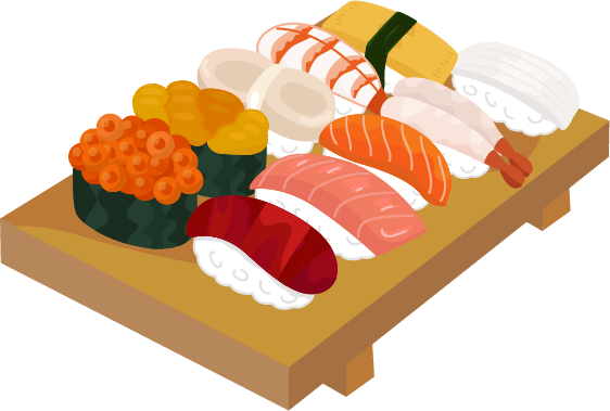 お寿司の盛り合わせのイラスト