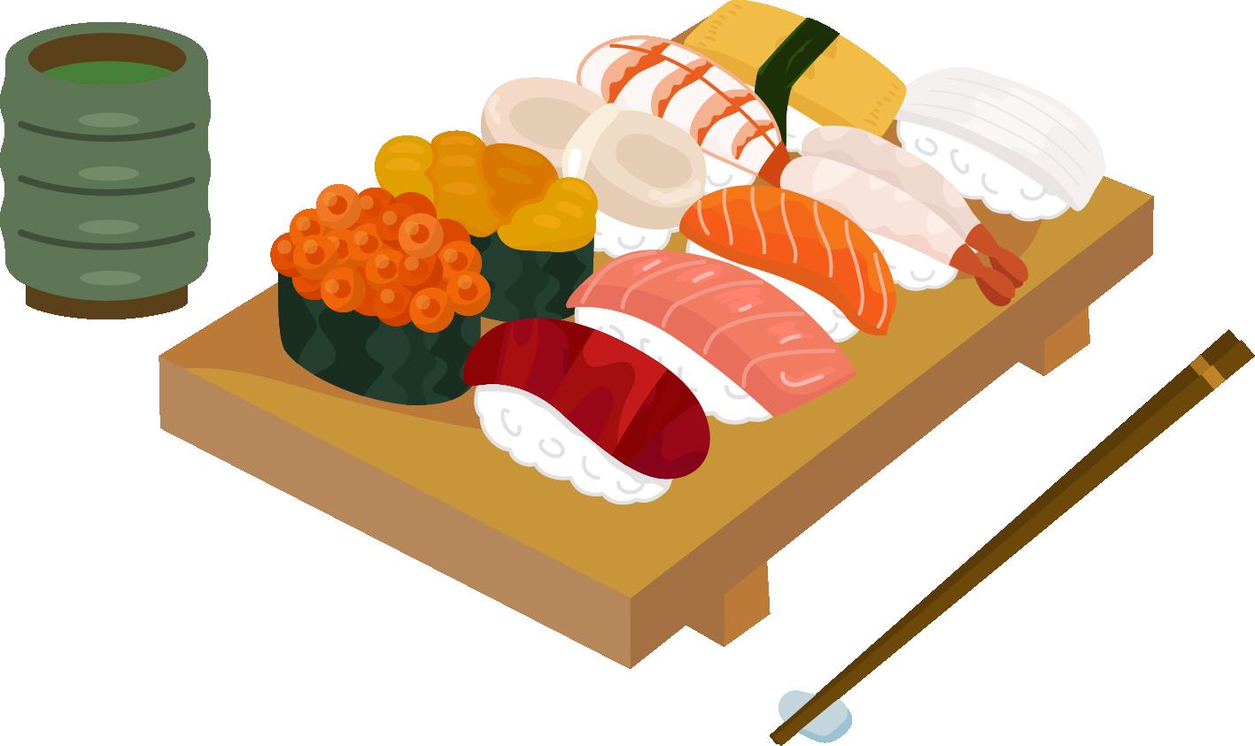 お寿司とお茶のイラスト