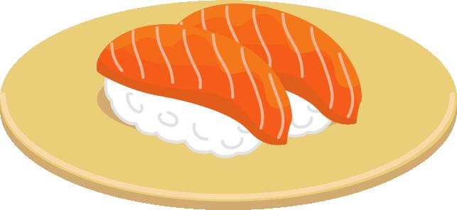 サーモンのお寿司のイラスト(回転寿司)