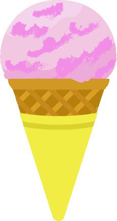 コーンに乗ったイチゴのアイスのイラスト