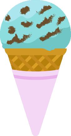 コーンに乗ったチョコミントアイスのイラスト