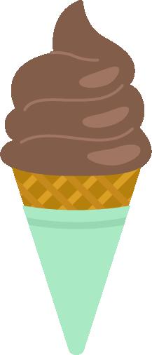 チョコのソフトクリームのイラスト(コーン)